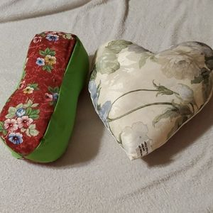 2 pillows, heart and oblong, heart is 9 in x 9 in